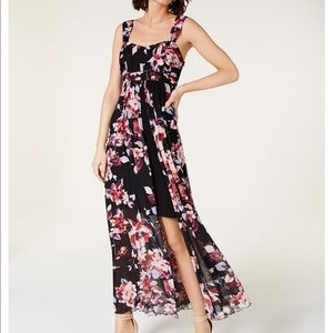 Pink & blue Floral Chiffon Split Front Maxi Dress